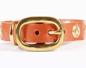 Copper Pearl Leather Dog Collar with Grommets