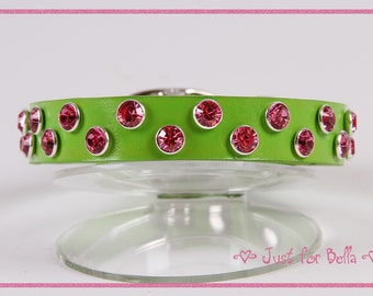 Spring Green Leather Dog Collar w Crystals