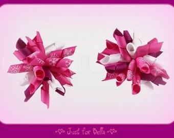 Raspberry Swirl Korker Dog Bows