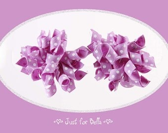 Petite Orchid Swiss Korker Dog Bows