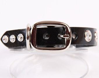 Black Leather Dog Collar with Grommets