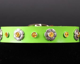Spring Green Leather Dog Collar with Flowers