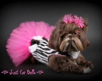 SAMPLE SALE:  Zebra Stripe Special Occasion Dog Dress