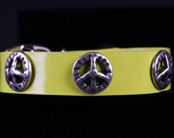Yellow Leather Dog Collar w Peace Signs