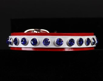 Red White Leather Dog Collar with Sapphire Crystals