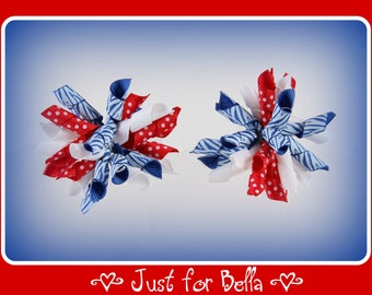 Patriotic Blue Zebra Korker Dog Bows