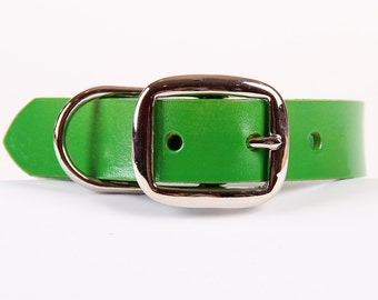 Green Leather Dog Collar