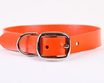 Orange Leather Dog Collar
