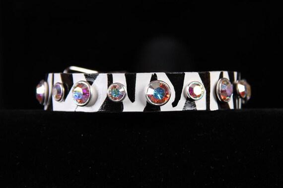 Zebra Leather Dog Collar Swarovski AB Crystals