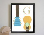 Alphabet Nursery Art Print, Alphabet Art, Letter G, G is for Guitar, Children Decor, Nursery Wall Decor, Baby Art Print