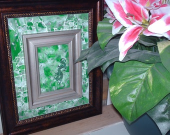 Imperial Green Dragon Shattered Mosaic Glass Art