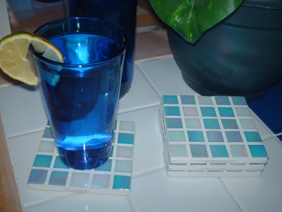 Iridescent Candy Blue Marble Mosaic Tiled Coasters