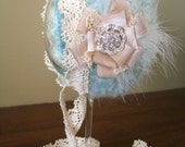 Sasha-Pastel Blue and Cream Bonnet- Newborn Photo Prop