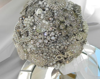 Brooch  Bouquet of White, Silver, Pearl and Rhinestone Brooches