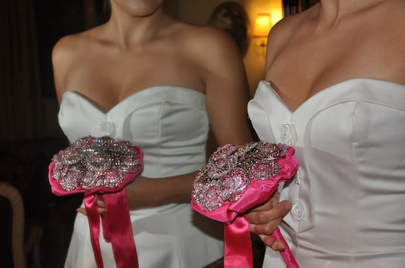 Brooch  Bouquet of Pink and fushia colored Brooches