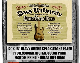 """your name on a personalized BASS GUITAR diploma - BIG 12""""x18"""" - Great custom gift"""
