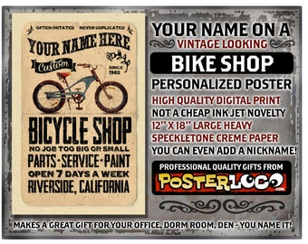 """YOUR NAME on a bicycle shop poster Personalized -custom gift - 12""""x18"""" novelty room decor"""