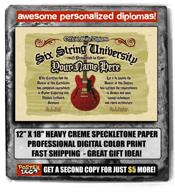 """your name on a personalized 6 string Guitar diploma - BIG 12""""x18"""" - Great custom music gift"""