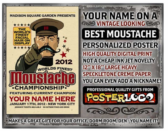"YOUR NAME on a Worlds Best Moustache poster Personalized gift - 12""x18"" digital print"
