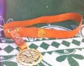 Vintage leather belt / brass pendent