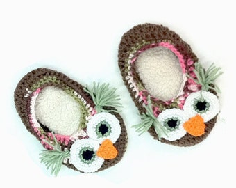 Made to Order: Adult Handmade Crochet Owl Slippers