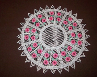 Embroidered Doily - White with Pink Rose Pattern