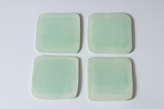 Handmade Ceramic 4 piece Turquoise Coaster Set - Hand cut and Painted in Layered effect - Free shipping in US