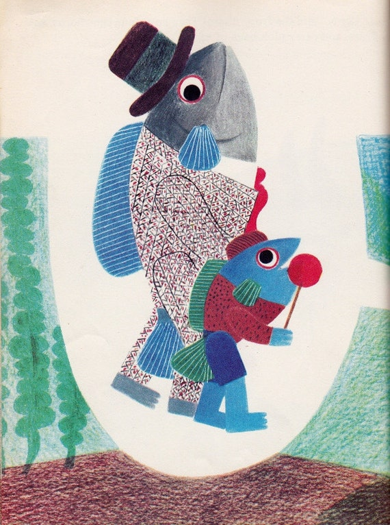 Fish Is Fish funny vintage kids picture book by Leo Lionni