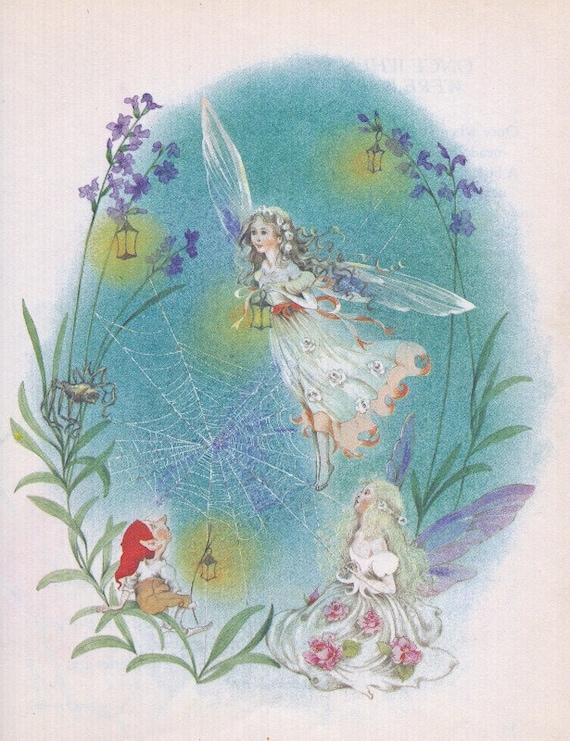 gorgeous fairy illustrations from vintage kids Fairy Poems book, frameable, great for nursery art, ephemera, repurposing