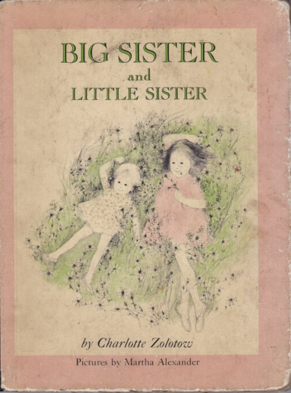 Big Sister and Little Sister vintage kids book by Charlotte Zolotow,  sweet homage to sisterhood, great gift, adorable illustrations