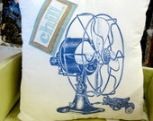 "Screen Printed Pillow with Vintage Fan and ""Chill"" Lettering"