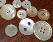 Hand Carved Vintage 1940s Mother of Pearl Buttons