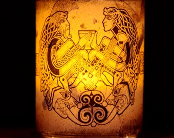 Celtic couple candle holder/ luminary with real leaf paper