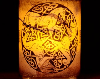 Celtic Horses Candle holder/ luminary with real leaf paper