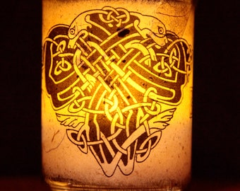 Celtic animals candle holder/ luminary with real leaf paper