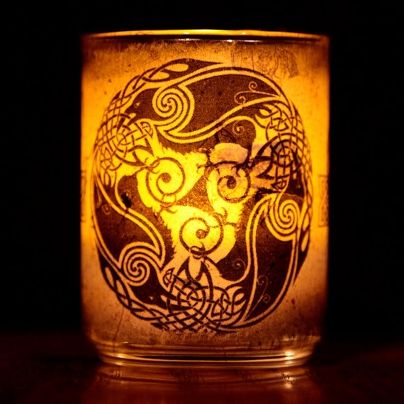 Celtic Ravens Candle holder/ luminary with real leaf paper