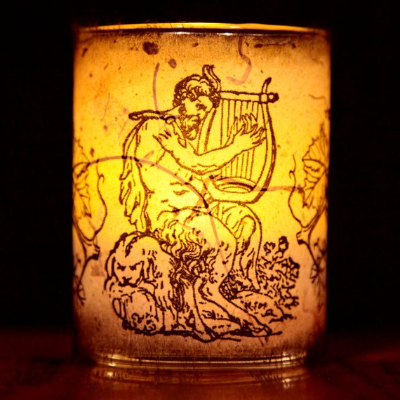 Great God Pan Candle holder/ luminary with real leaf paper. 3 sizes available - free shipping!