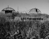 "Looming - 8x10""  B&W HDR Quonset Huts print"