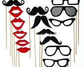 Classic Photo Booth Prop Set 21 Mustache On A Stick Photo Props Fun Wedding Party Photography Props -