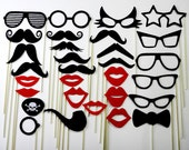 Wedding Photo Booth Props Mustache on a Stick Wedding Favor Party Photo Booth Prop Mask 30 Piece Set - 107