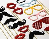 Stick Props Mustache On A Stick Photo Booth Props 15 Piece Set   Fun Wedding Party Accessory