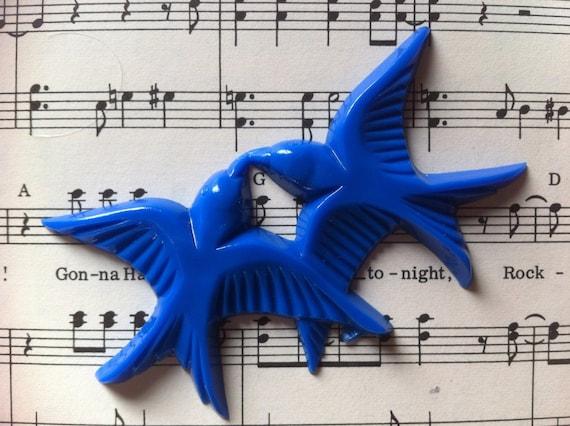 New Plastic Dark Blue Birdie Cabochon 70mm x 35mm (APS054)