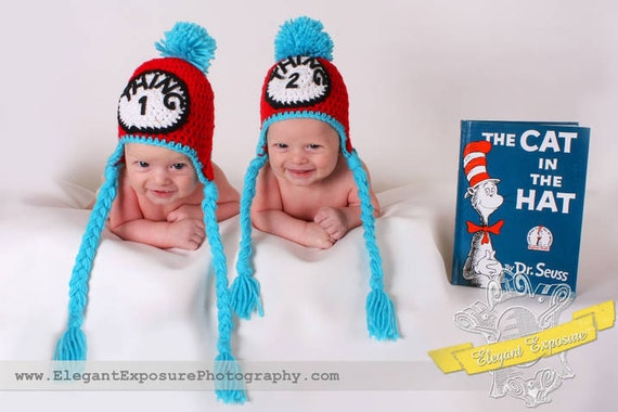 Dr. Suess Thing 1 & thing 2 twin hat set photography prop newborn, 0-3, 3-6 months