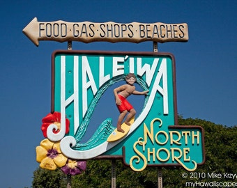 Decorative Haleiwa Town Sign w/ Surfer on the North Shore of Oahu in Hawaii