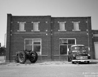 Old Historic Building w/ Tractor & Truck in Coldwater, Kansas