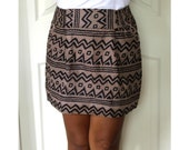Chevron Mini Skirt Brown and Black Tribal with Two Side Pockets - Size S/M