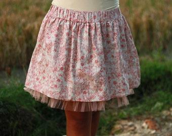 Spring Cream and Peach Floral Mini skirt