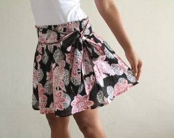 Fashion Black Skirt and Red Floral Cotton with Sash Belt - Free Size