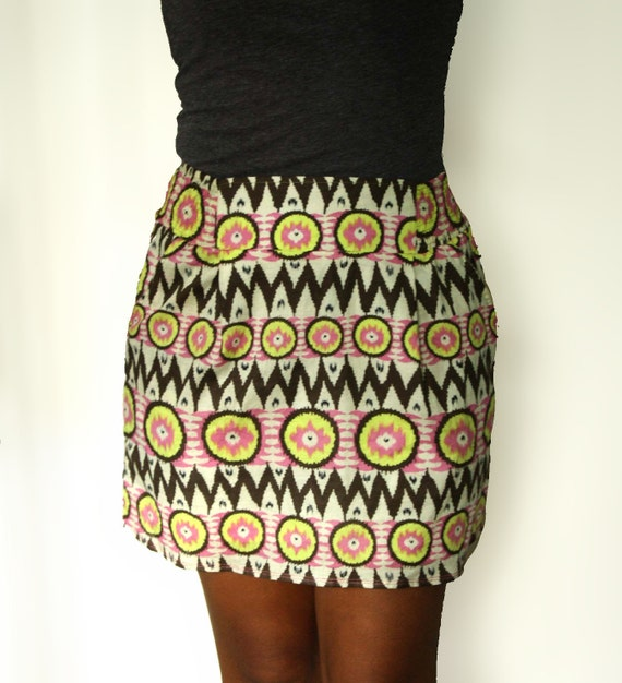 OOAK Yellow Skirt /  Pink and Yellow Chevron Brown Tribal Mini Skirt with Two Pockets