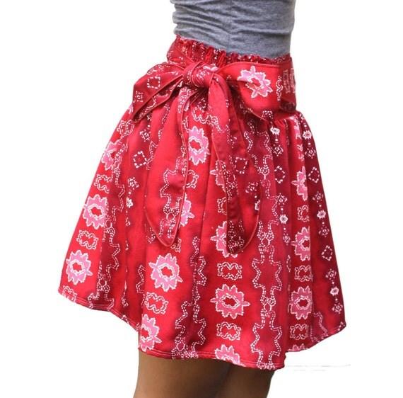 Red Skirt - Tribal Mini Skirt with sash belt - Ready to Ship